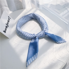 RONI Spring lady  imitation silk scarf striped print fashion headscarf bag accessories 01