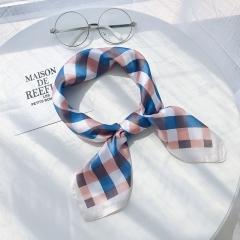 RONI Spring ladies plaid print silk scarf business scarf girl  imitation  silk headscarf 01