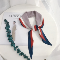 RONI Summer lady fashion contrast color silk scarf  women imitation silk scarf bag decoration 01