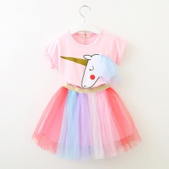 RONI Summer baby  girl  clothes suit kids T-shirt +  rainbow skirt two-piece set 01 90