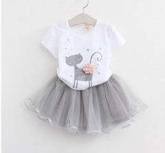 RONI Summer baby girl clothes suit kids cute kitten T-shirt + skirt two-piece set 01 90