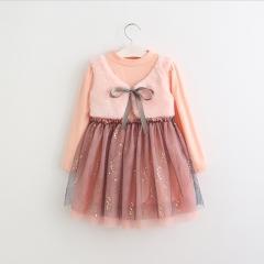 RONI Autumn baby girl temperament dress princess dress velvet vest  Gauze dress kid clothes 01 90cm