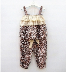 RONI Summer baby girl clothes suit kids  leopard print Sling + trousers   two-piece set 01 90