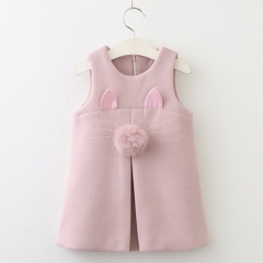 RONI Autumn baby girl temperament sweet vest skirt kids cute cartoon ear princess dress clothes the picture color 100