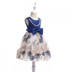 RONI Girl pearl necklace dress kids exquisite embroidery  dress birthday party dress  wedding dress 01 100cm
