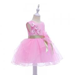 RONI Girl flower bow princess dress kids lovely lace dress birthday party dress wedding dress 02 150cm