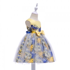 RONI Girl flower print bow princess dress kids lace dress birthday party dress wedding dress 01 100cm
