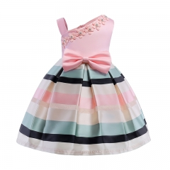 RONI Girl sweet princess dress kids pearl flower dress birthday party  dress wedding dress 01 110cm