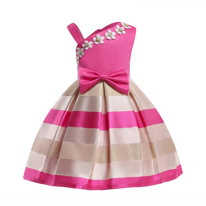 RONI Girl  sweet princess dress kids pearl flower dress birthday party stage dress wedding dress 02 130cm
