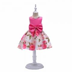 RONI Girls elegant princess dress  kids rose print  dress birthday party stage dress wedding dress 01 100cm