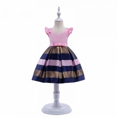 RONI Girl temperament stripes princess dress kids birthday party stage dress wedding dress 01 100cm