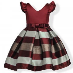 RONI Girl temperament stripes princess dress kids birthday party stage dress wedding dress 02 120cm