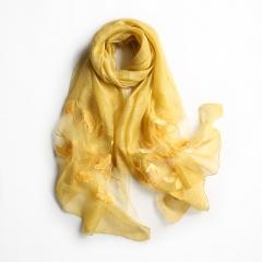 RONI Ladies long real  silk scarf  women ginkgo embroidery  elegant  silk scarves 01