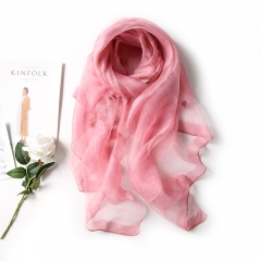 RONI Ladies real silk scarf  women new flowers embroidered silk scarves shawls 01