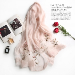 RONI Ladies elegant real silk scarf  women delicate flowers embroidered scarf shawl 01