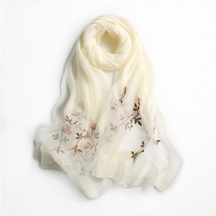 RONI Ladies elegant real silk scarf  women delicate flowers embroidered scarf shawl 02