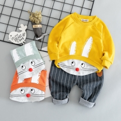 RONI Autumn baby boy 100% cotton clothes suit girl kids  lovely T-shirt + trousers two-piece set 01 80/s