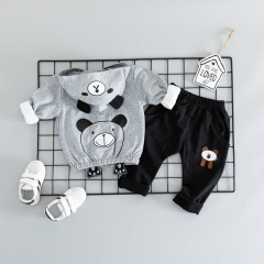 RONI Autumn baby boy 100% cotton clothes suit girl  cute cubs three-piece set kids clothing 02 80/s