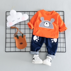 RONI Baby  boy 100% cotton clothes suit girl striped bear leisure two-piece set  kids clothing 01 80/s