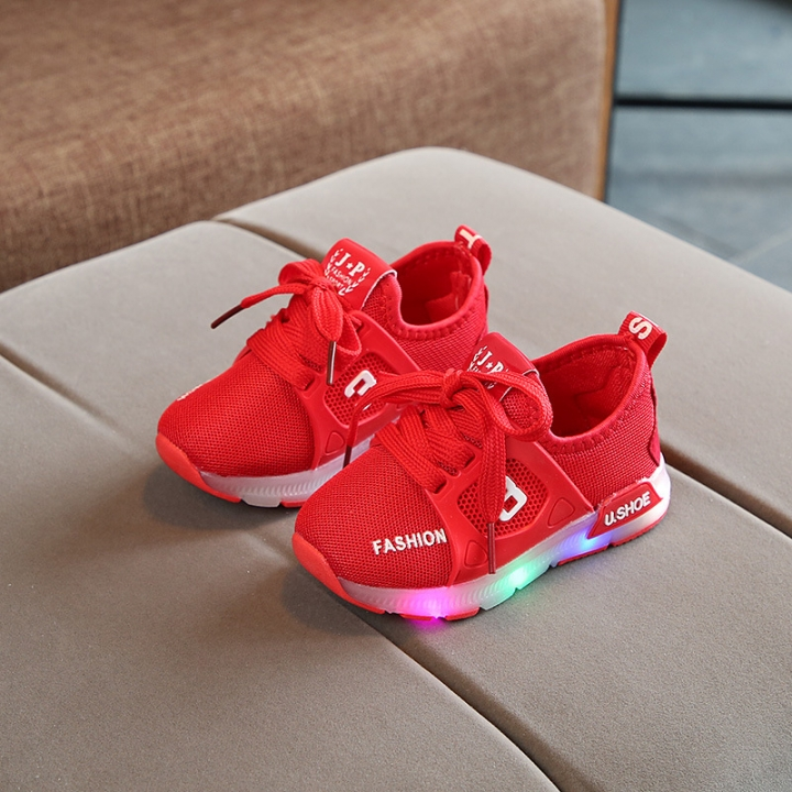 RONI Spring Baby boy glowing mesh shoes casual shoes girl kids LED flash sneakers 01 22