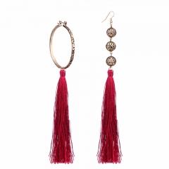 RONI Lady fashion personality asymmetrical  long earrings women Tassel multi-color ear ornaments 01 all code