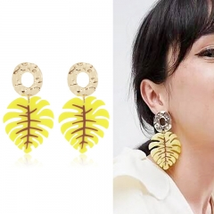 RONI Lady fashion creative earrings women  gold-plated leaf earrings 01 all code