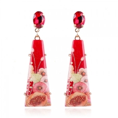 RONI Lady national style printing diamond resin earrings women fashion accessories 01 all code