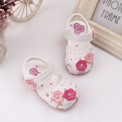 RONI Summer girl sandal glowing  walking shoes baby cute flower princess shoes 01 18