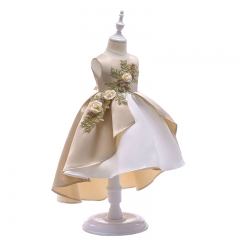 RONI Girls Elegant Flowers Embroidery Princess Skirt Kids Wedding Dress Party Dress Stage Dress 01 100cm