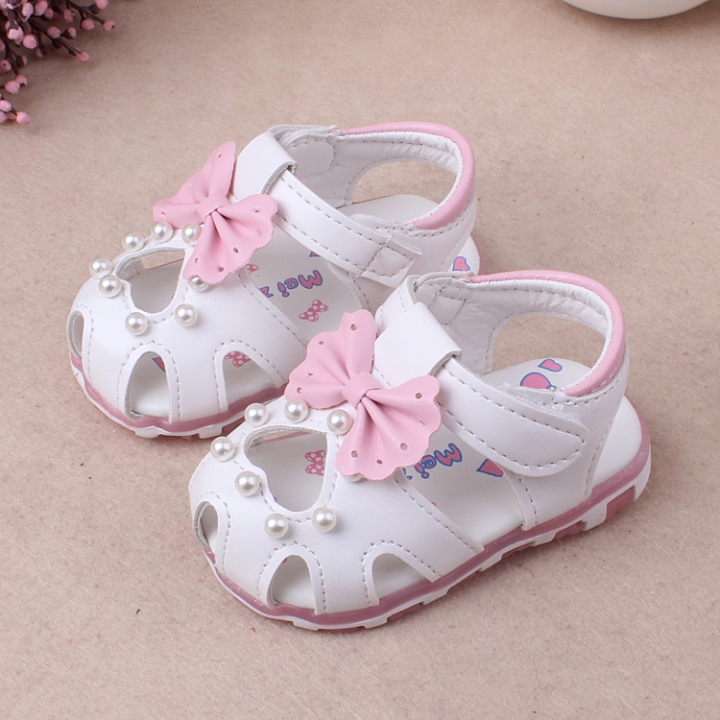 RONI Summer girl sandal glowing walking shoes baby cute flower princess shoes 01 16