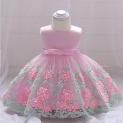 RONI Girl Flower Princess Skirt Flower Girl Lace Dress Baby Wedding dress Birthday Party  Dress 01 70cm