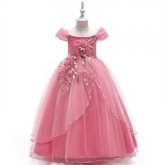 RONI Baby Girl Lace Long Princess Skirt  Kids Wedding Dress Birthday Party Stage Dress 01 120cm