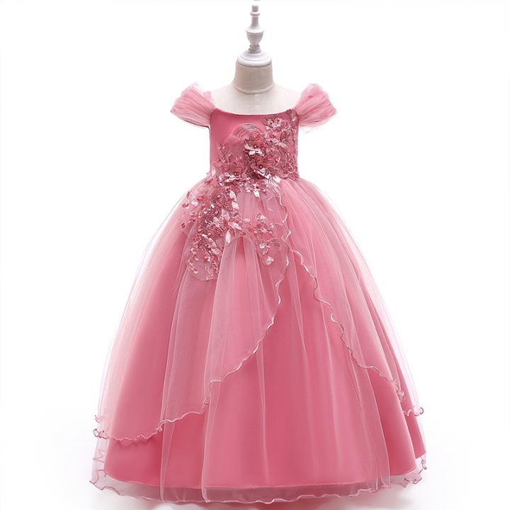 RONI Baby Girl Lace Long Princess Skirt  Kids Wedding Dress Birthday Party Stage Dress 01 120cm