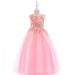 RONI Baby Girl Lace Long Princess Skirt  Kids Wedding Dress Birthday Party Stage Dress 01 110cm
