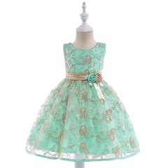 RONI Girl luxurious embroidery dress kids wedding dress flower girl gauze dress birthday party dress 01 110cm