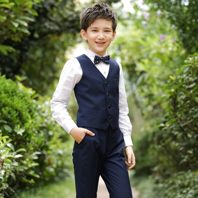 b5d5f426c4e RONI Boy Western suit wedding performance clothes suit kids vest+ ...