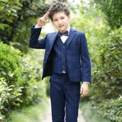 RONI Boy Western suit wedding performance clothes suit kids coat+vest+shirt+pants+tie five-piece set Containing vest 100