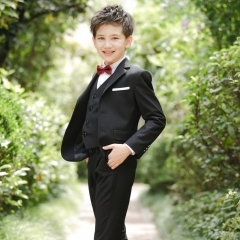RONI Boy Western suit wedding performance clothes suit kids coat+vest+shirt+pants+tie five-piece set 01-Containing vest 100