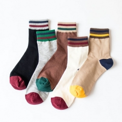 RONI 5 Pairs Autumn men cotton socks men fashion striped socks the picture color all code 25-27cm