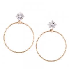 RONI Fashion simple zirconium temperament ear nail classic geometry big circle popular ear ornaments 01 all code