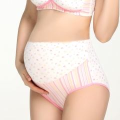 RONI 2pcs Pregnant women briefs  pregnant women high waist breathable cotton  underwear 2 colors m