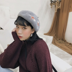 RONI Autumn lady  fashion hat women embroidered hat girl wool beret 01