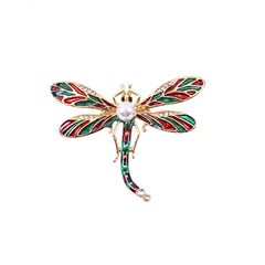 RONI Lady  dragonfly brooch women diamond Pearl dragonfly pin scarf dress accessories 01 all code