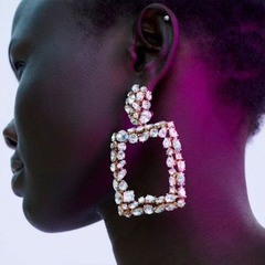 RONI Ladies fashion personality earrings  diamond geometric earrings 01 all code