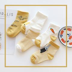 RONI 5pcs Autumn baby girl cotton socks boys kids cute leisure socks 01 S