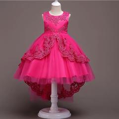 RONI Girl flower embroidery dress kids wedding dress flower girl clothes birthday party dress 01 110cm