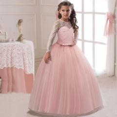 RONI Girl lace dress kids wedding dress flower girl dress birthday party dress  performance clothes 01 120cm