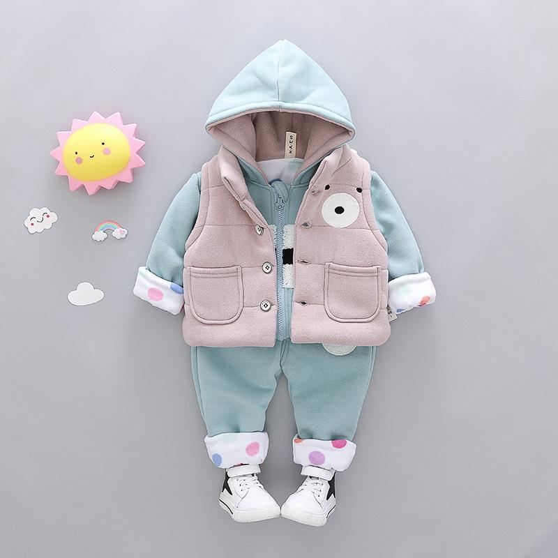 02bb87337 RONI Winter baby girl cotton clothes suit boy kids cute bear vest+ ...