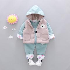RONI Winter baby girl cotton clothes suit boy kids cute bear vest+coat+pants three-piece ste 01 80/s