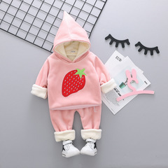 RONI Winter baby girl warm thick clothes suit  boy kids cute strawberry  coat+pants two-piece set 01 80/s